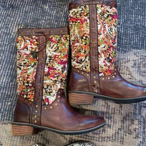 Spring Step Tapestry brown leather boot 40